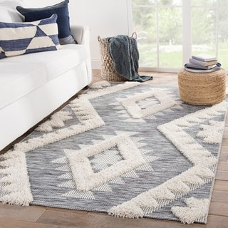 Zayne Indoor/ Outdoor Geometric Gray/ Cream Area Rug