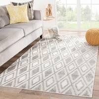 Kiah Indoor/ Outdoor Trellis Gray/ White Area Rug