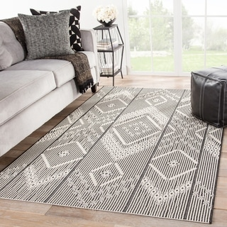 Havenside Home Kachemak Indoor/ Outdoor Tribal Dark Gray/ Cream Area Rug