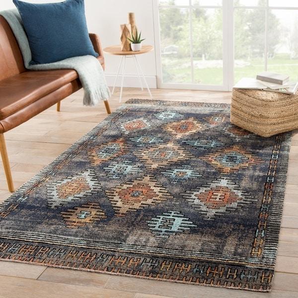Laila Indoor/ Outdoor Tribal Blue/ Orange Area Rug