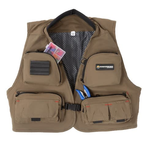 12 Pocket Fishing Vest- Lightweight Tackle Equipment Organizer Jacket with 3 D-Rings by Wakeman Outdoors - Dark Beige