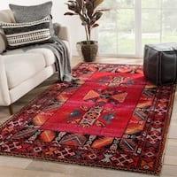Deon Indoor/ Outdoor Tribal Red/ Black Area Rug