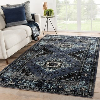 The Curated Nomad Filbert Indoor/ Outdoor Medallion Black/ Blue Rug