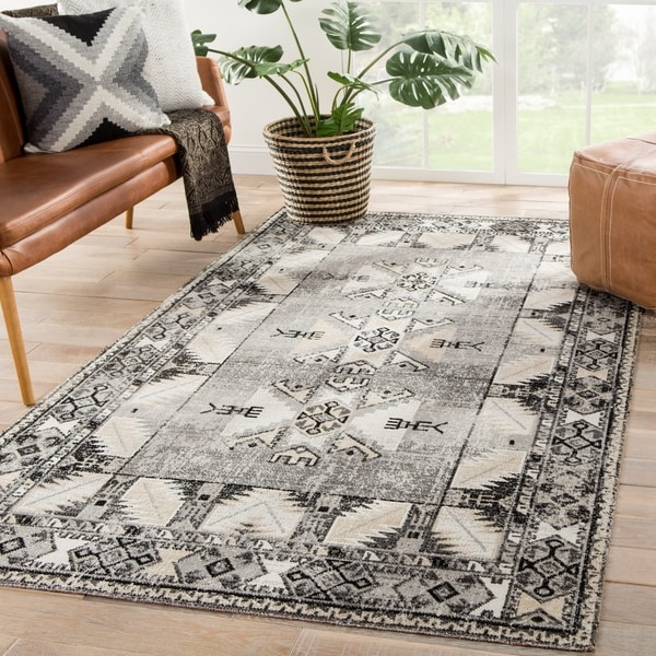 The Curated Nomad Deanna Grey Indoor/Outdoor Tribal Area Rug