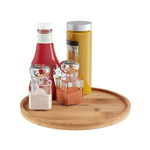 Lazy Susan- All-Natural Bamboo Round Tier Turntable Kitchen, Pantry and Vanity Organizer and Display by Classic Cuisine
