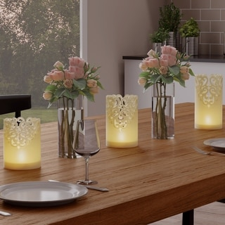 LED Candles with Remote Control-Set of 3 Lace Detailed, Vanilla Scented Wax, Realistic Flameless Pillar Lights by Lavish Home