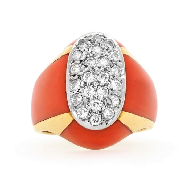 18K Yellow Gold Diamond Coral Vintage Cocktail Ring (H - I,SI1 - SI2) Size - 5.75. Opens flyout.