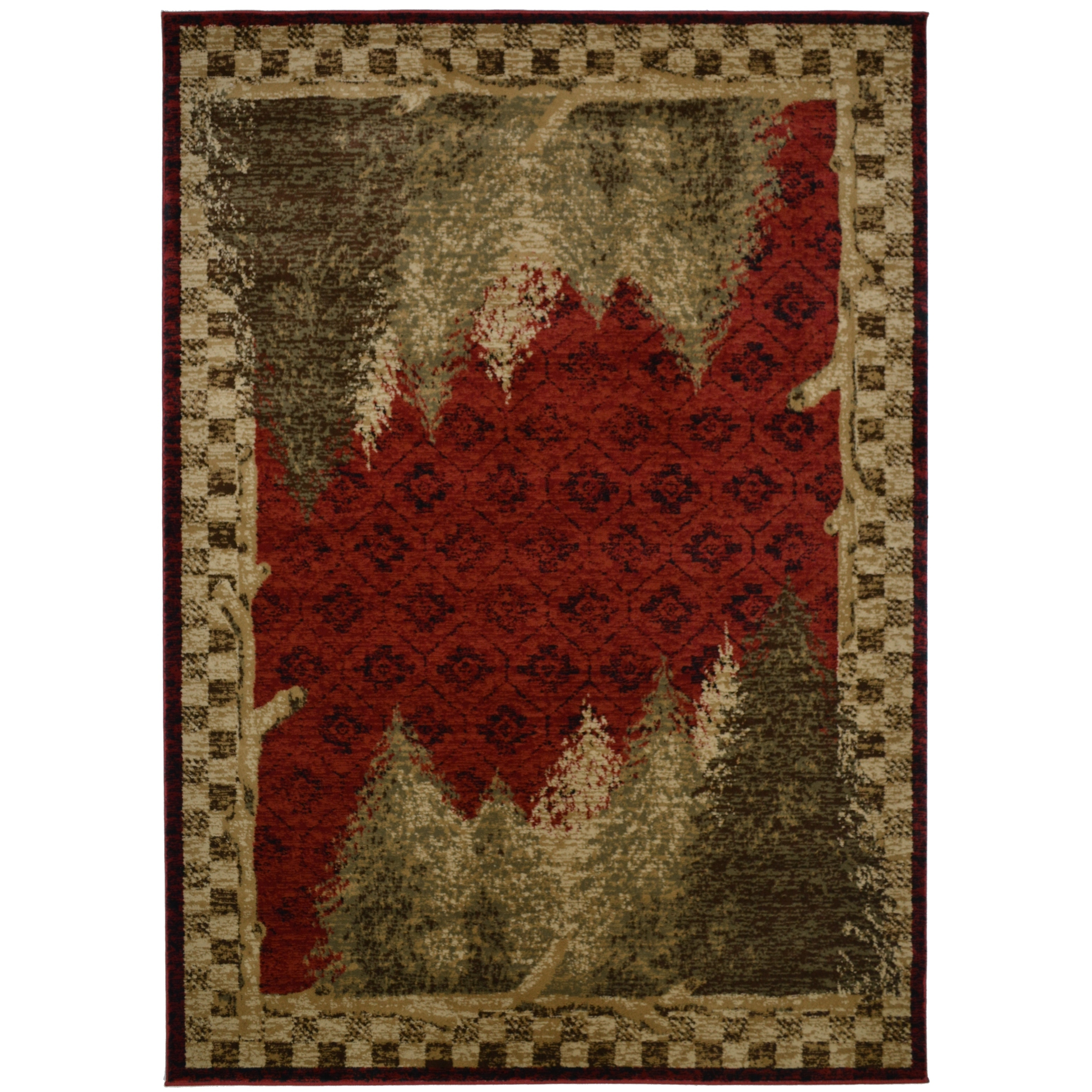 Forest Woods Lodge Cabin Area Rug