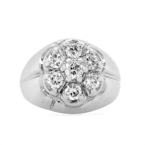 14K White Gold 1ct Diamond Gypsy Cluster Vintage Ring (H - I,SI1 - SI2) Size - 6.75
