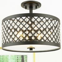 Shexel Oil Rubbed Bronze 3-light Semi-Flushmount Ceiling Lamp with Crystal Lattice Shade