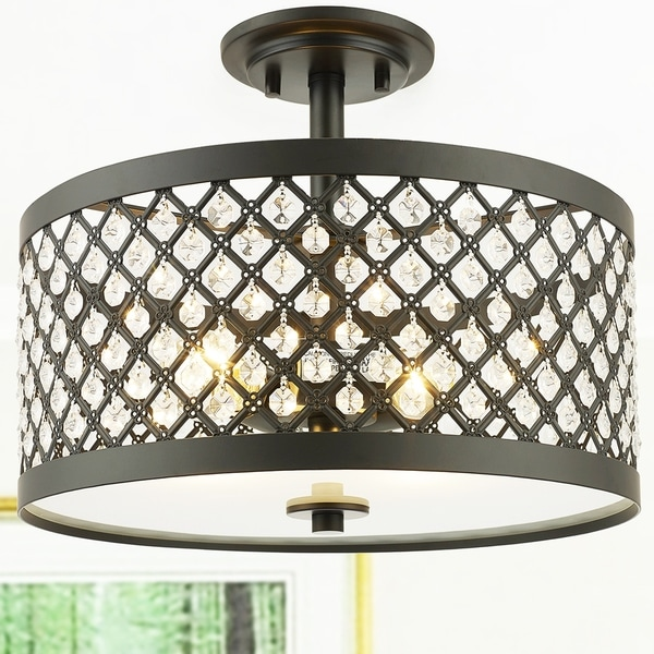 Shexel Oil Rubbed Bronze 3 Light Semi Flushmount Ceiling Lamp With Crystal Lattice Shade