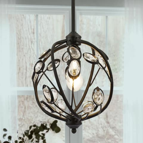 Silmin Oil Rubbed Bronze 1-light Crystal Globe Pendant Lighting