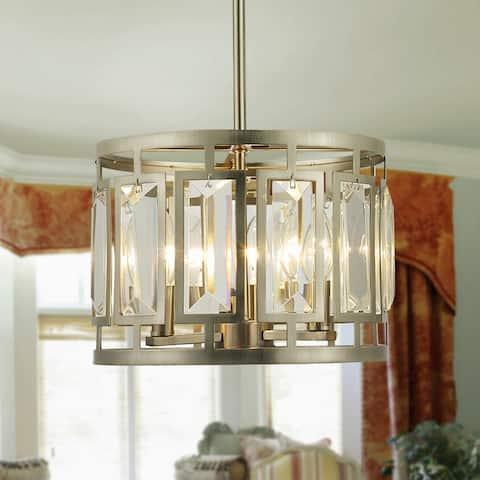 Honem Brushed White Bronze 3-light Crystal Baguette Drum Pendant