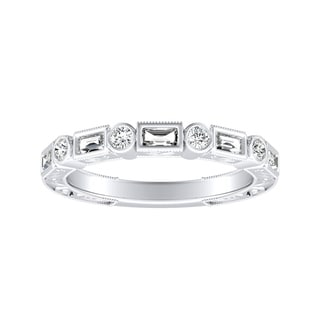 Auriya 1/3ctw Vintage Round and Baguette Diamond Wedding Band Platinum