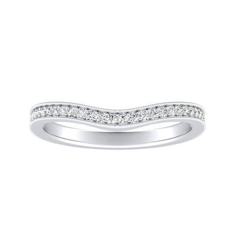 Auriya Platinum 1/5ctw Curved Diamond Wedding Band