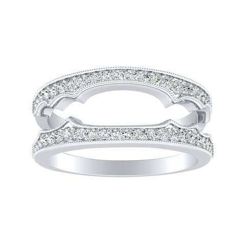 Auriya 1/4ctw Vintage Diamond Wedding Ring Guard Platinum