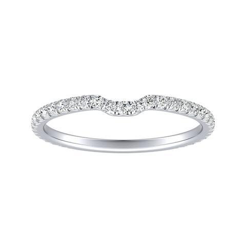 Auriya Platinum 1/4ctw Stackable Diamond Wedding Band