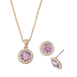 Isla Simone 2-Piece Rose Swarovski Crystal Flower Set