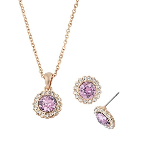 4ccdc608e4 Isla Simone 2-Piece Rose Swarovski Crystal Flower Set