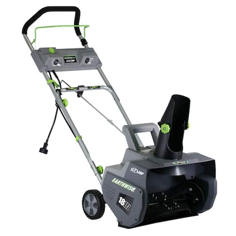 Earthwise 18- Inch Corded 13.5 Amp Snow Thrower - Black/Grey/Green
