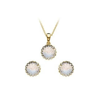 Isla Simone 2-Piece Gold Swarovski Crystal Flower Set