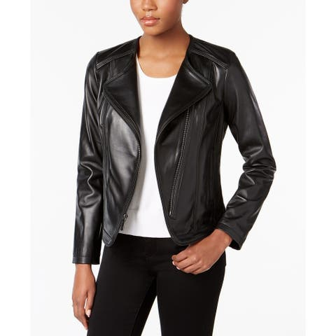 Michael Kors Asymmetrical Cutaway Leather Jacket