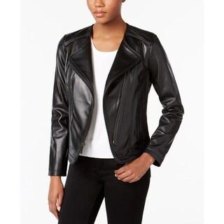 Michael Kors Asymmetrical Cutaway Leather Jacket