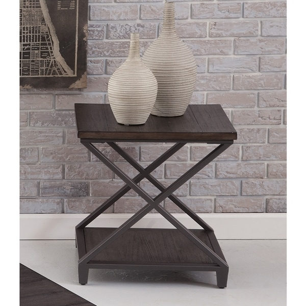 Alton Double X Style Wood and Metal End Table by Greyson Living