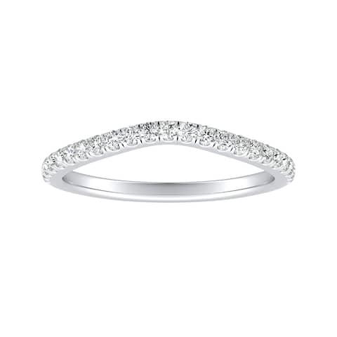 Auriya 1/5ctw Curved Diamond Wedding Band 14k Gold