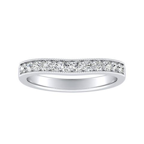 Auriya 18k Gold 1/3ctw Round Diamond Wedding Band