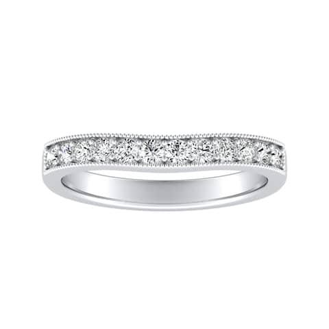 Auriya 14k Gold 1/3ctw Round Diamond Wedding Band