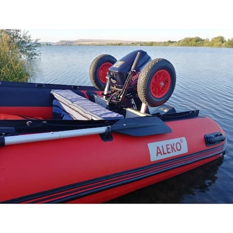 ALEKO Pair of Aluminum Alloy Dinghy Launching Wheels for Inflatable Boats - Black