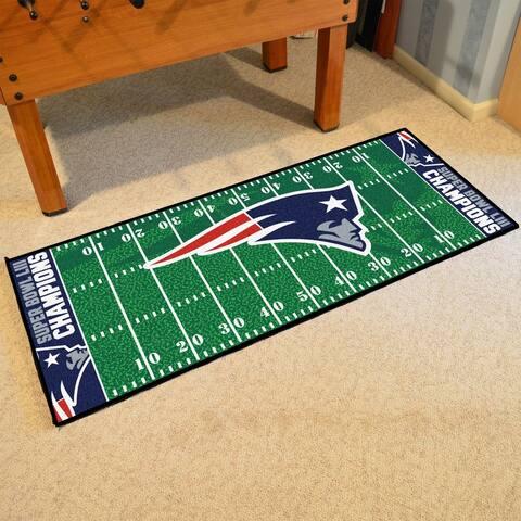 "New England Patriots Super Bowl LIII Champions Football Field Runner 30""x72"" - 2'6"" x 6' Runner"
