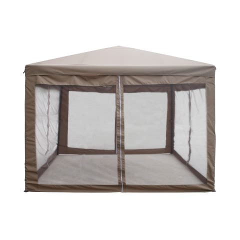ALEKO Garden Gazebo Canopy with Mesh Insect Screen 10x10 ft Brown