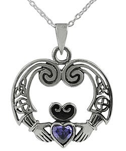Journee Sterling Silver Celtic Amethyst Claddagh Necklace
