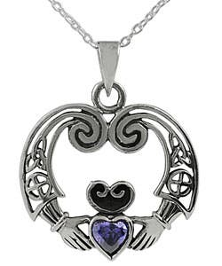 Journee Sterling Silver Celtic Amethyst Claddagh Necklace|https://ak1.ostkcdn.com/images/products/2648298/Tressa-Sterling-Silver-Celtic-Amethyst-Claddagh-Necklace-P10850750.jpg?impolicy=medium