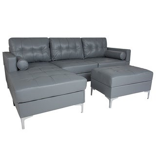 Bellmore 3-Piece Grey Leather Sectional Sofa with Left Facing Chaise and Storage Ottoman
