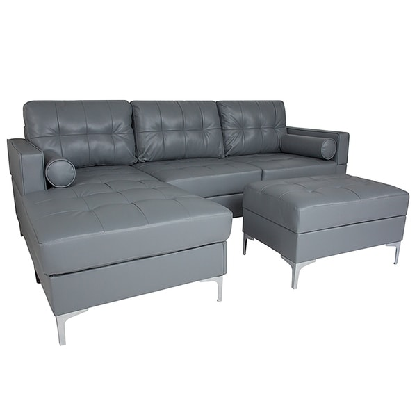 Shop Bellmore 3 Piece Grey Leather Sectional Sofa With Left Facing Chaise And Storage