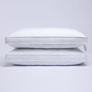 Quilted Gusseted Feather and Down Pillow with Cotton Cover - Set of 2 - White
