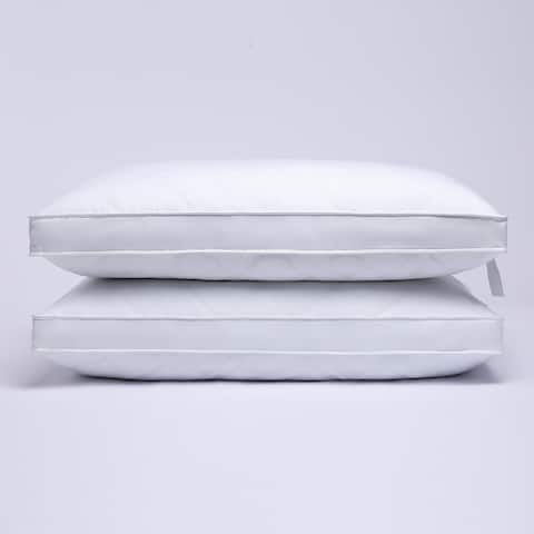 "2 Pack Premium Quilted 2"" Gusset Goose Feather Bed Pillows for Side and Back Sleepers - White"
