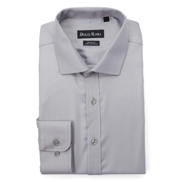 4aa2ec5384a65 Shop Dolce Roma 100% Cotton Slim-Fit Men's Dress Shirt - Free ...