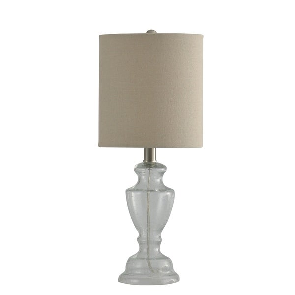 Shop Clear Seeded Glass Table Lamp With Silver Post And Natural