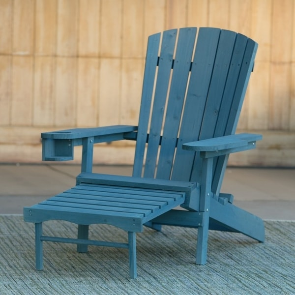 Wondrous Adirondack Chair With Built In Cup Holder With Ottoman Blue Download Free Architecture Designs Pushbritishbridgeorg