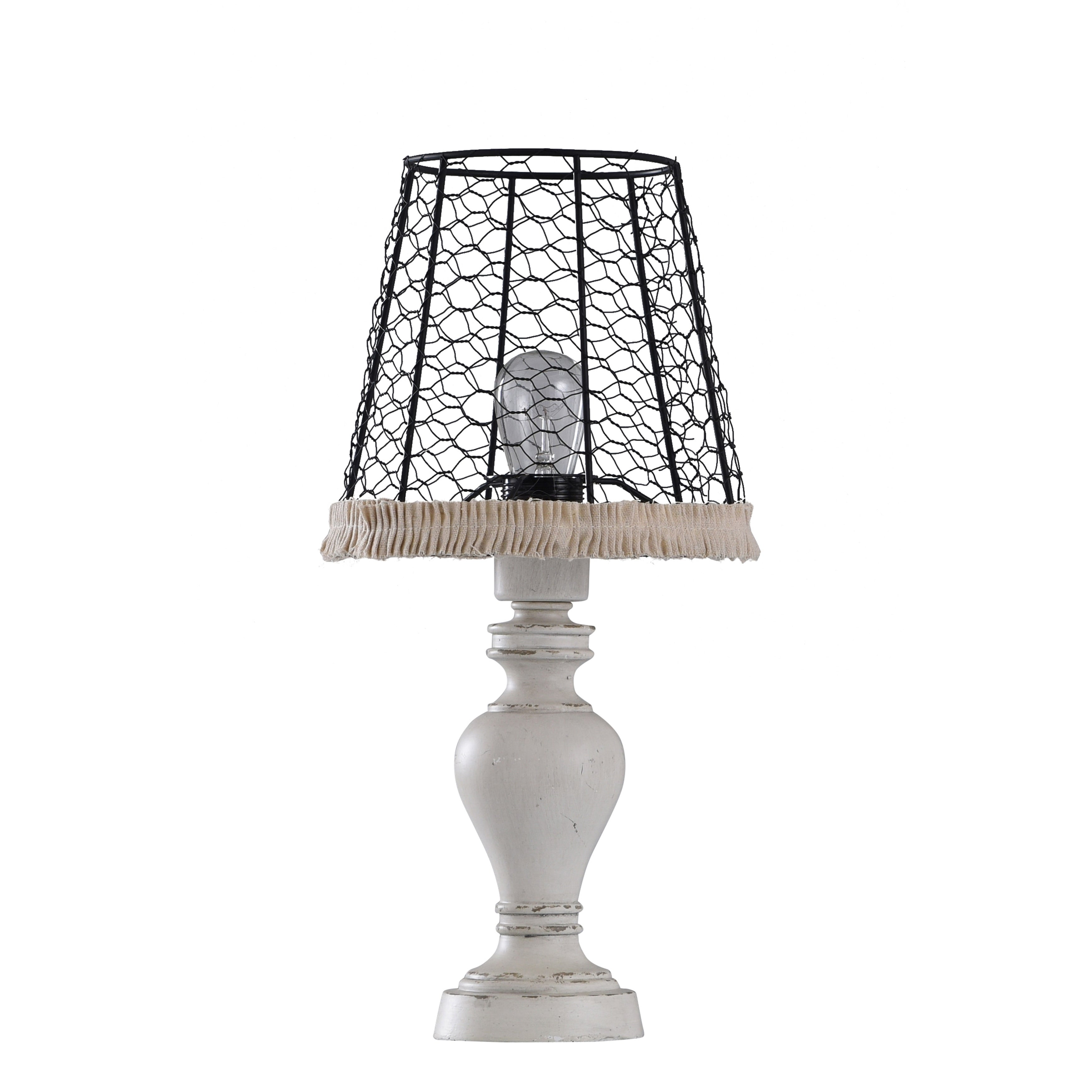 Old White Distress Table Lamp With Black Metal Chicken Wire Shade And Tan Ruffle Fabric Trim Overstock 26483306