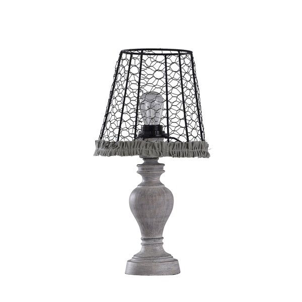 Shop Grey Wash Table Lamp With Black Metal Chicken Wire Shade And