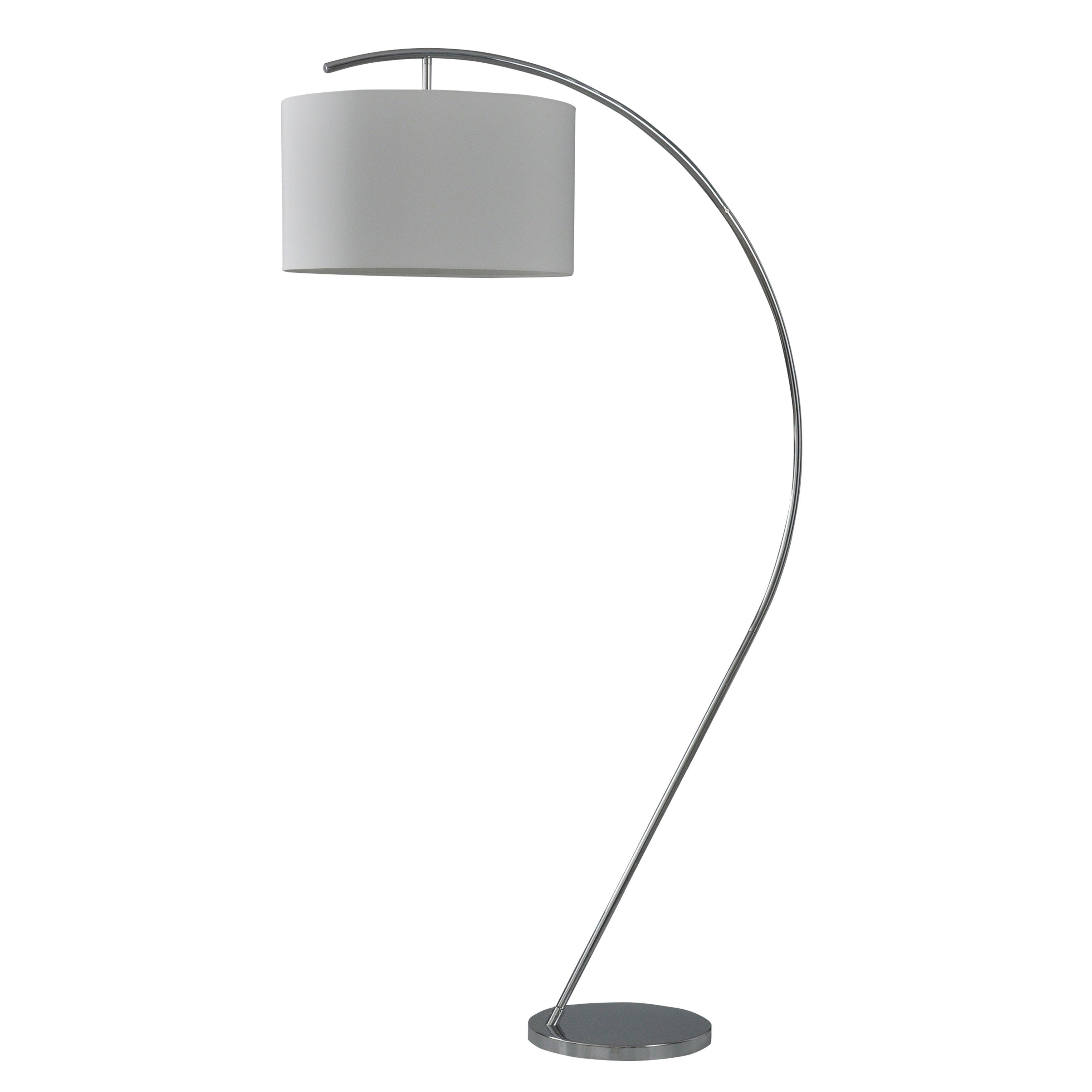 Shop Black Friday Deals On Chrome Curved Arm Floor Lamp With Hanging White Fabric Drum Shade Overstock 26483316