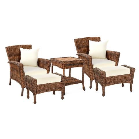 Outdoor Faux Sea Grass Garden Patio Chairs and Ottomans