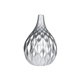 Urban Trends Ceramic Round Bellied Vase with Narrow Lip, Embossed Wave Pattern Design Body in Matte Finish - Silver