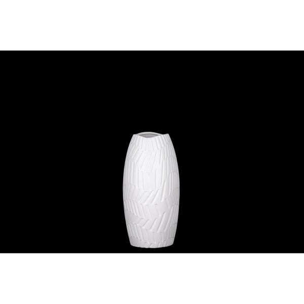fafa72edf7b Shop UTC21484  Ceramic Round Vase with Irregular Lip and Engraved Wave  Horizontal Line Pattern Design Body Coated Finish White - Free Shipping  Today ...