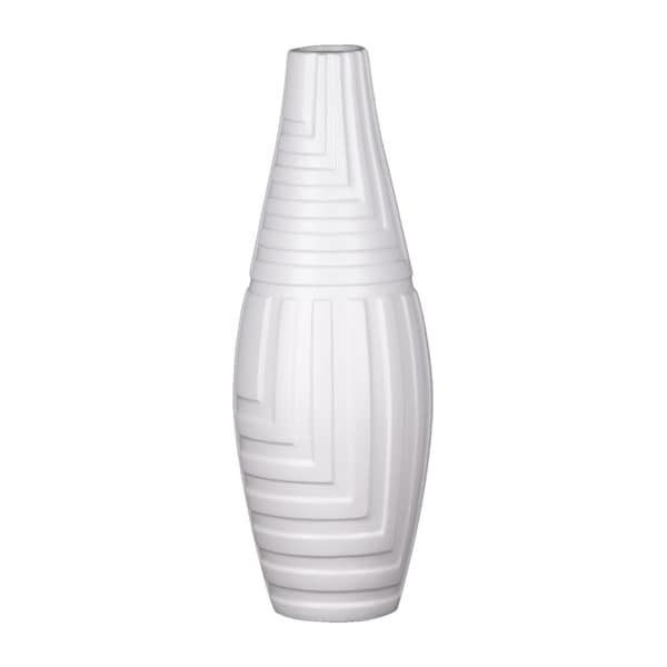"""Urban Trends 18""""H Ceramic Round Vase with Narrow Mouth and Embossed Mazed Line Pattern Design Body in Coated Finish - White"""
